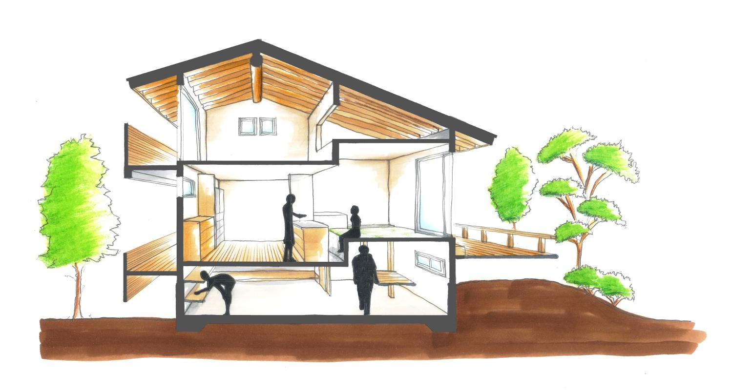モデルハウス断面図